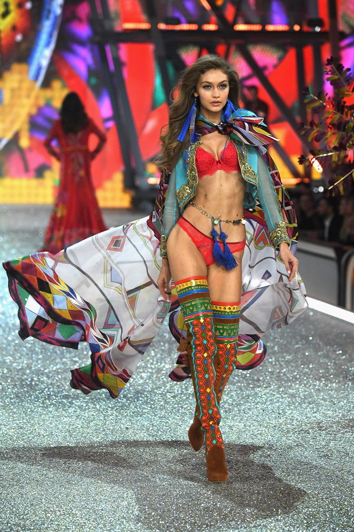 Gigi Hadid wore TF outta these rainbow boots.