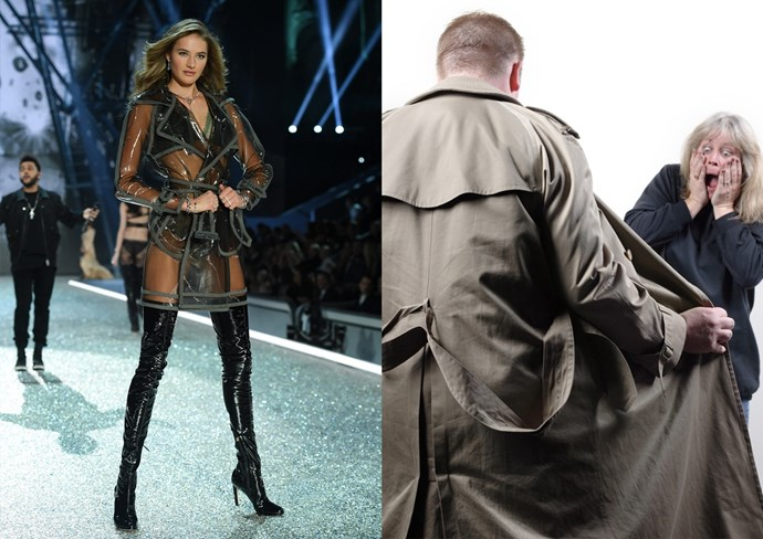 **2. A flasher** She's even unbuckling her coat!! (Don't worry, there's lingerie underneath.)