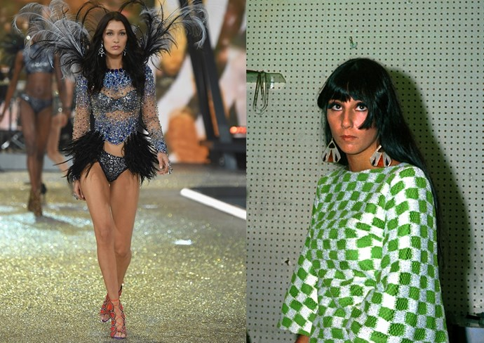 """**12. Cher!** Can we talk about how Bella Hadid is actually a young Cher?! (She was singing """"Believe"""" to The Weeknd, at least in her head, when they had [that awk lil' moment on the runway](http://www.cosmopolitan.com/entertainment/celebs/a8384450/bella-hadid-the-weeknd-victorias-secret-photos