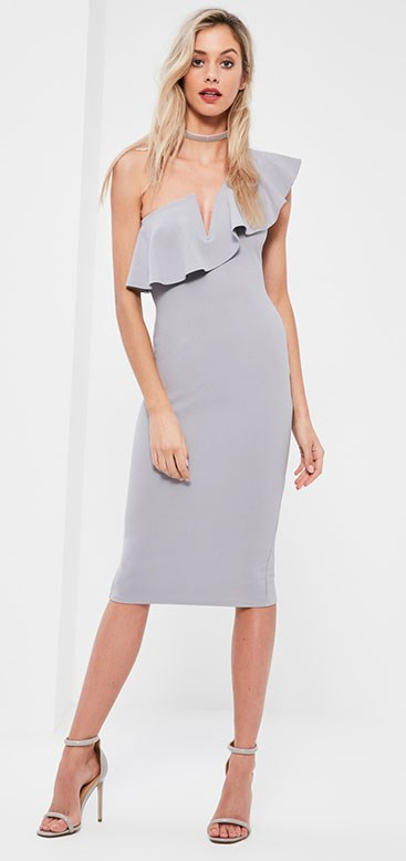 "Dress, Missguided, $61.60 from [Missguided](https://www.missguidedau.com/grey-one-shoulder-frill-midi-dress|target=""_blank""