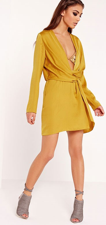 "Dress, Missguided, $77 from [Missguided](https://www.missguidedau.com/satin-wrap-mini-dress-chartreuse|target=""_blank""