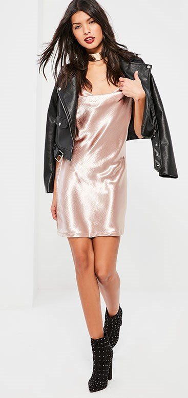 "Dress, Missguided, $55 from [Missguided](https://www.missguidedau.com/pink-satin-cowl-front-shift-dress|target=""_blank""