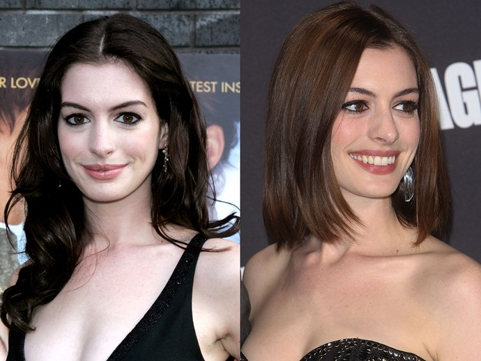 **Anne Hathaway.** It's gotta sting finding out your boyfriend's a mega fraud, but Anne had the last LOL over 'Raffaello the Rat' when she switched to a sleek bob and started filming *Bride Wars*. Best. Movie. Ever. **Tip:** the trick to getting your hair to stay sleek and smooth is a lightweight finishing spray that fights frizz and humidity. Try [Bumble and Bumble Hairdresser's UV Protective Dry Oil Finishing Spray](http://mecca.com.au/bumble-and-bumble/hairdressers-uv-protective-dry-oil-finishing-spray/V-024264.html), $49.