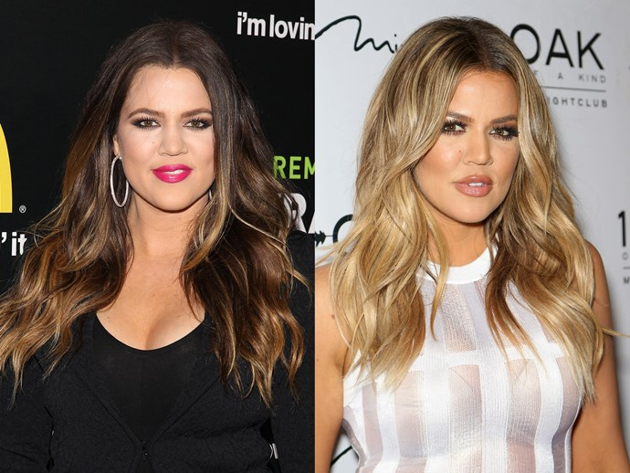 **Khloe Kardashian.** Koko took a leaf of of Kim's #breakover book when she first filed for divorce from Lamar in 2013. She hit the gym and lightened her hair to deal with her heartbreak. Even though she did call off divorce proceedings during Lamar's time in hospital, the two finalised their divorce this year. We're not crying, you're crying.