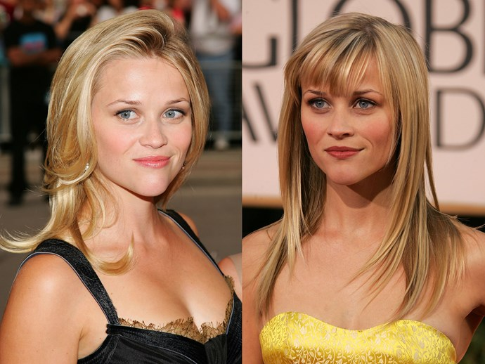 **Reese Witherspoon.** Everyone's favourite *Cruel Intentions* couple called it quits in 2006, but Reese channeled her epic heartbreak into her fiercest beauty look yet showing off a sexy new fringe at the '07 Golden Globes. Yas y'all. **Tip:** for a flawless fringe, invest in a mini boar bristle brush for blow-drying. Try [Lady Jayne Purse Sized Classic Pad Brush](https://www.priceline.com.au/lady-jayne-classic-pad-brush-purse-sized-100-boar-bristles-1-ea), $20.49.