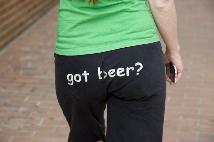 **Tracksuit pants with writing on the butt**  I know, tracksuit pants are maybe the least sexy clothing item around. But slap some weird writing on the butt, and BOOM. Hot.
