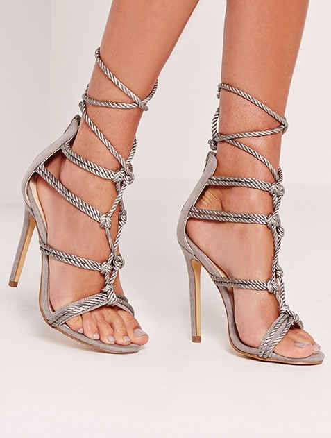 "Rope knot gladiator sandals, $44 from [Missguided](https://www.missguidedau.com/satin-rope-knot-gladiator-sandals-grey|target=""_blank"")."
