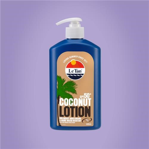 "**2. [Le Tan Coconut SPF50+ Lotion, $22.99](https://www.letan.com.au/product/5804/coconut-lotion-50~-500ml|target=""_blank""