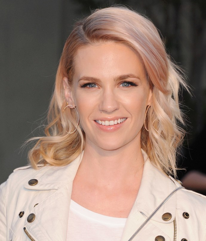**ROSÉ-TINTED**   Blonde with a wash of candy-pink, January Jones has perfected rosé-gold hair.