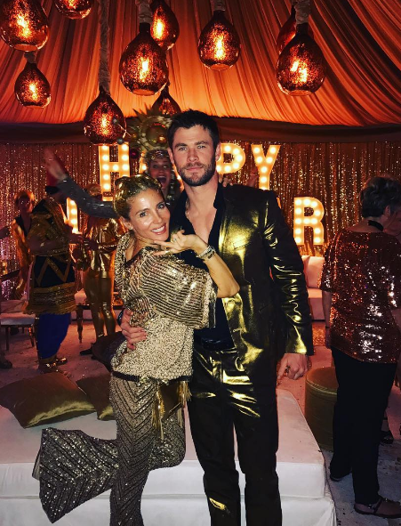 And here's golden couple Chris Hemsworth and Elsa Pataky. We want her flares. Badly.
