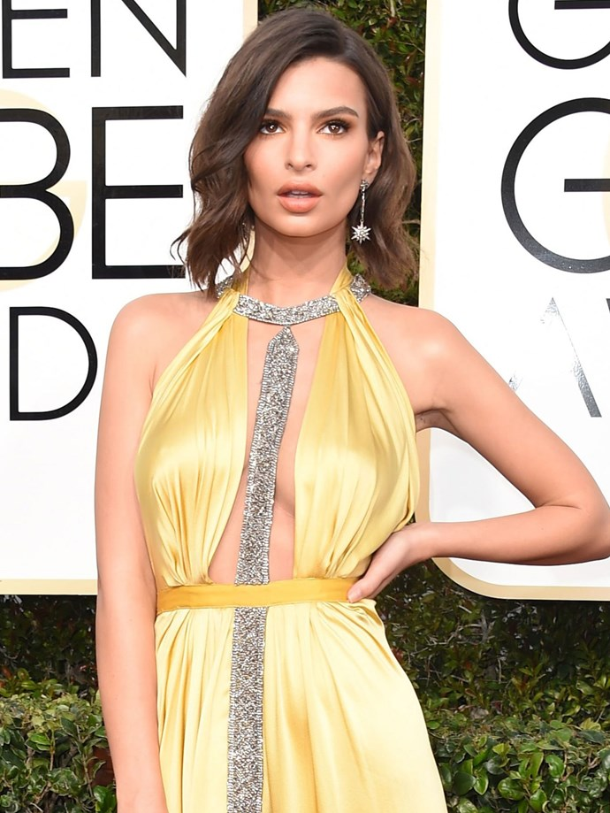 Emily Ratajkowski makes a case for all bronze everything! And yes, that's a fresh haircut she's sporting.