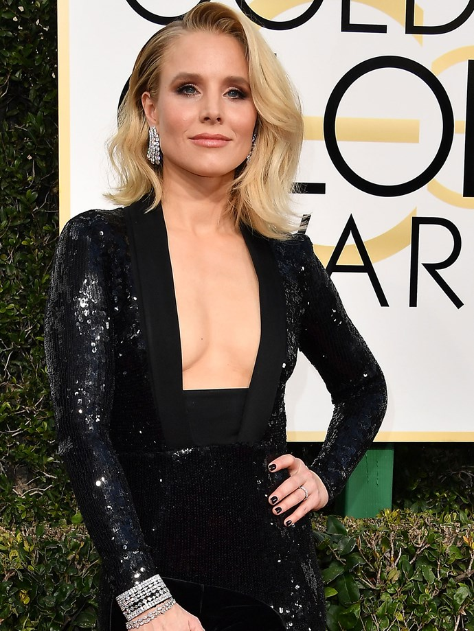 Kristen Bell makes a case for the classic smokey eye and nude lip combo.