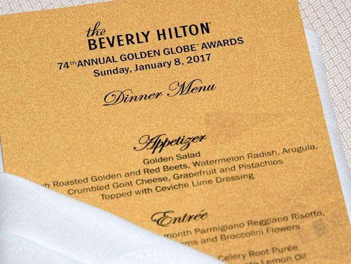 golden globes menu 2017
