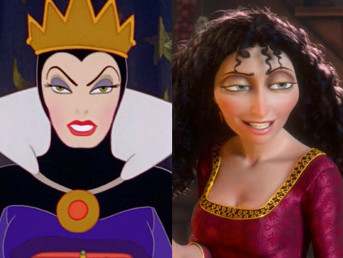 ***Snow White* and *Tangled* theory** Aside from the obvious facial similarities (THOSE EYEBROWS), it's believed that the evil queen in *Snow White* and the step mother (also very evil) in *Tangled* is in fact the same cold-hearted, gold digger out to steal your dad, his money and kill you. Lovely.