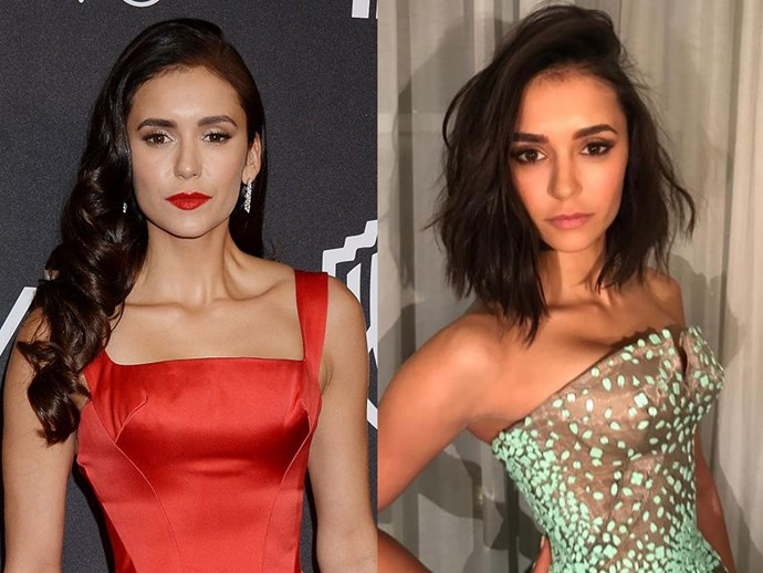 Ever since we saw her on *TVD*, Nina Dobrev and her long, thick, wavy hair have been the epitome of goals. Well, she's since chopped it all off into a sexy, asymmetrical lob ahead of her *xXx: Return of Xander Cage* premiere and it's honestly SO. DAMN. BABEIN. New year, new do(brev!)