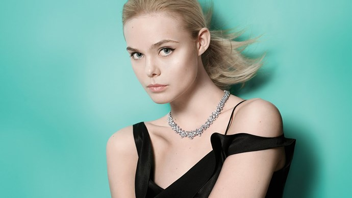 Elle Fanning models the necklace / Tiffany & Co