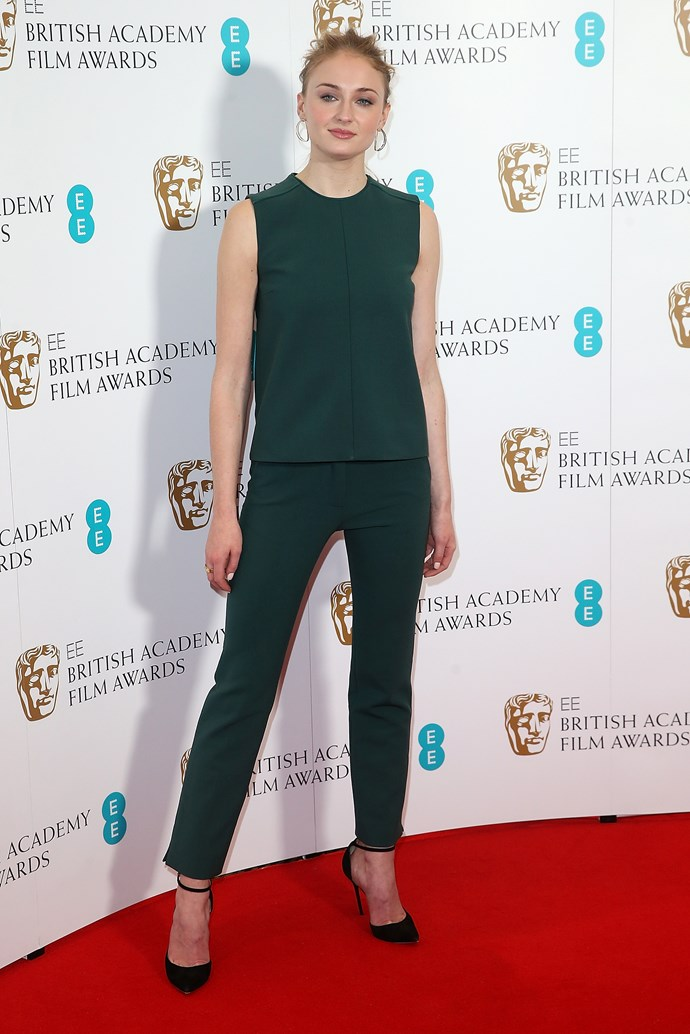 Sophie Turner is all-class in emerald green co-ords and a slicked-back bun.
