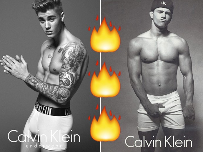 Justin Bieber sent Mark Wahlberg his Calvin Klein underwear campaign because why the f*ck not?