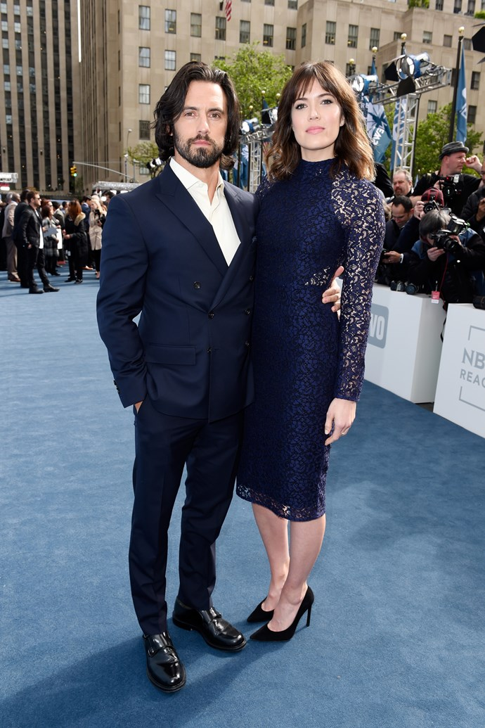 Love this lacy look. Also love Milo Ventimiglia.