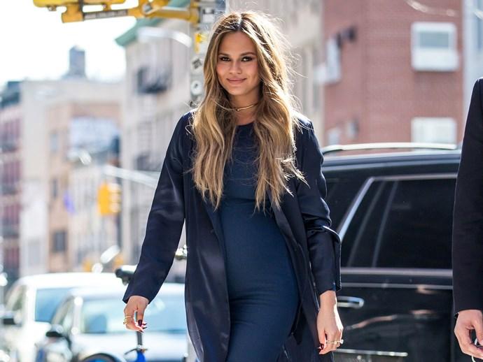 Chrissy Teigen maternity style