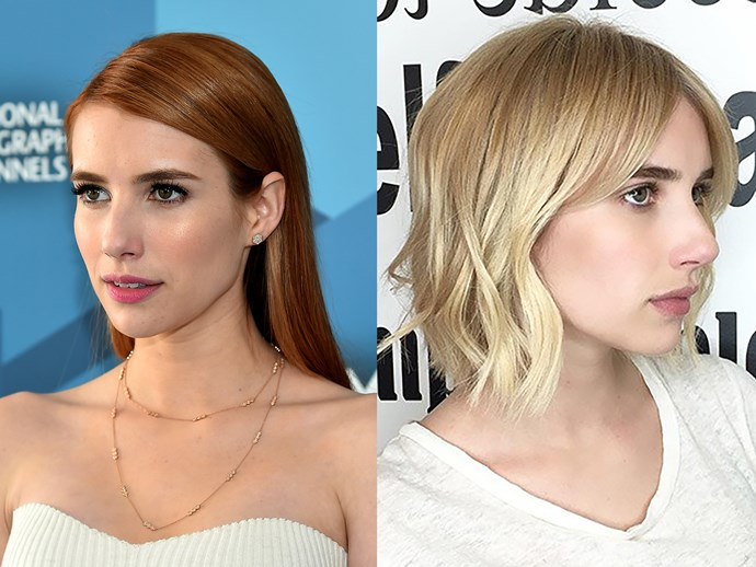 **Emma Roberts.** Last June, the *Scream Queens* star had to go back to blonde to reprise her role as Chanel Oberlin. But the most shocking part of this story is that Em's colourist managed to get her hair from red to bright blonde and healthy in just FOUR HOURS. Magic.
