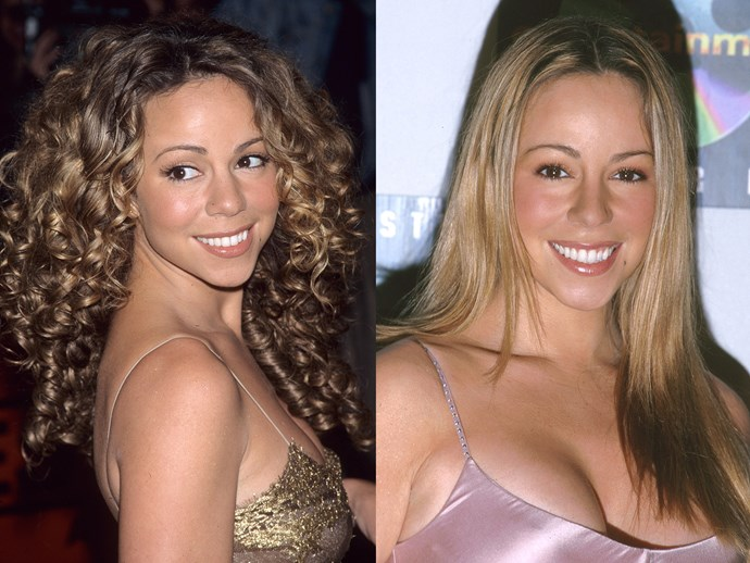 **Mariah Carey.** Back in her *Hero* days, Mimi was all about the corkscrew curls but fast forward a few years and Mariah had discovered straighteners, slip dresses and the secret to never ageing a day *high five emojis*.