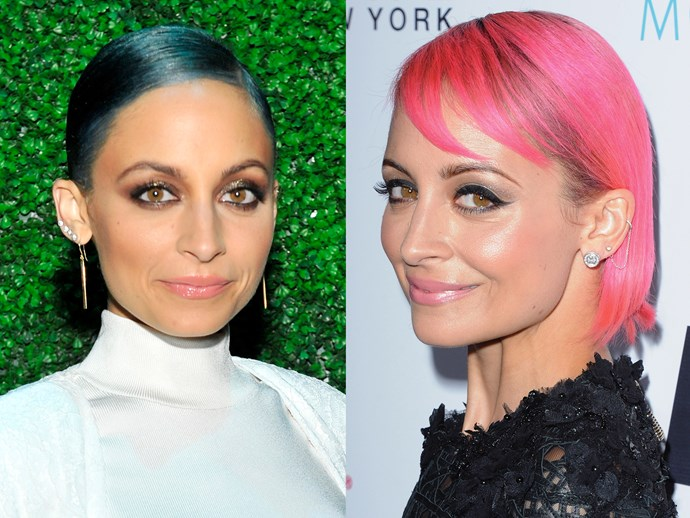 **Nicole Richie.** After seeing her dad Joel Madden dye his hair all these ~crazy~ colours, Nicole's daughter Harlow asked why her mummy didn't do it too. So, first the style icon went purple, then blue, then fluro goddamn pink. *Stahppp* with all the cuteness.