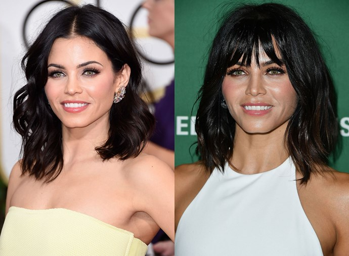 **Jenna Dewan-Tatum.** Spoiler alert: Jenna's new fringe is actually fake (it looks srsly legit to us *claps hands emojis*) but we can't stop thinking how great this cut would look on Jenna IRL!