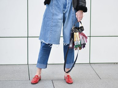These double denim pants are too much fashion