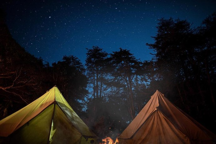 They camped under the stars, just like in the movies.