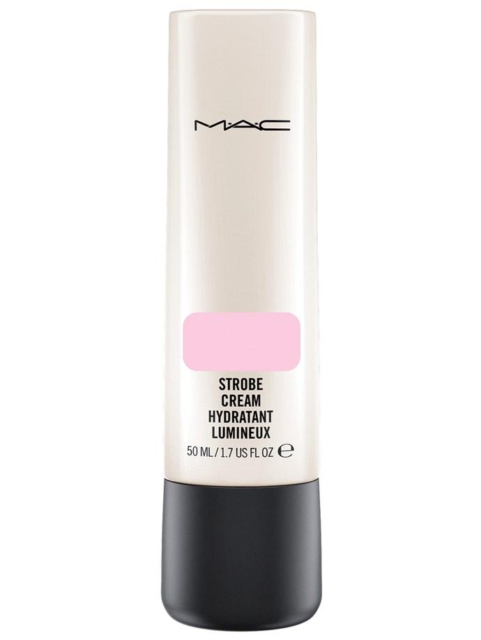"Mac In The Spotlight Strobe Cream In Pinklite, $33, at [MAC Cosmetics](http://www.maccosmetics.com/product/13824/364/products/skincare/moisturizers/strobe-cream#/shade/Pinklite_%28Original_Strobe_Cream%29|target=""_blank""|rel=""nofollow"")"