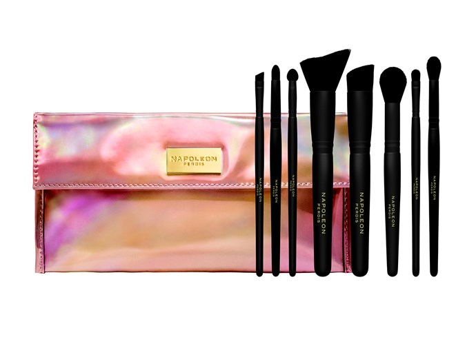 "Napoleon Perdis Brush Me Up 8 Piece Brush Collection, $125, at [David Jones](http://shop.davidjones.com.au/djs/ProductDisplay?catalogId=10051&productId=11130026&langId=-1&storeId=10051&cm_mmc=googlesem-_-PLA-_-Health+and+Beauty+-+Personal+Care-_-Napoleon+Perdis+Brush+Me+Up+8pc+Brush+Collection&CAWELAID=620017140003501194&CAGPSPN=pla&CAAGID=19211804176&CATCI=pla-51320962143&gclid=Cj0KEQiAwrbEBRDqxqzMsrTGmogBEiQAeSE6ZU-OM8LapHd9h9rKYbyY5KLgoLWpylF19CDg0For1J4aAvH98P8HAQ&gclsrc=aw.ds|target=""_blank""|rel=""nofollow"")"