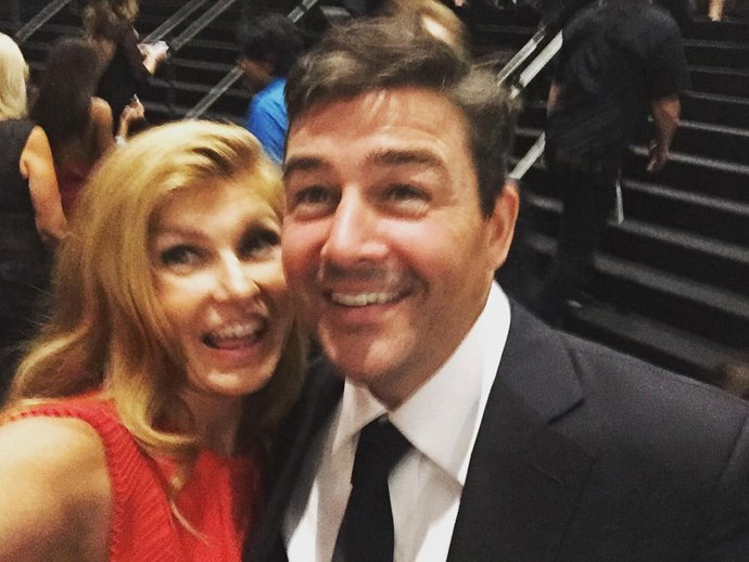 **Friday Night Lights**  Clear eyes, full hearts, can't lose! Especially with this reunion pic of Connie Britton (Tami) and Kyle Chandler (Eric).