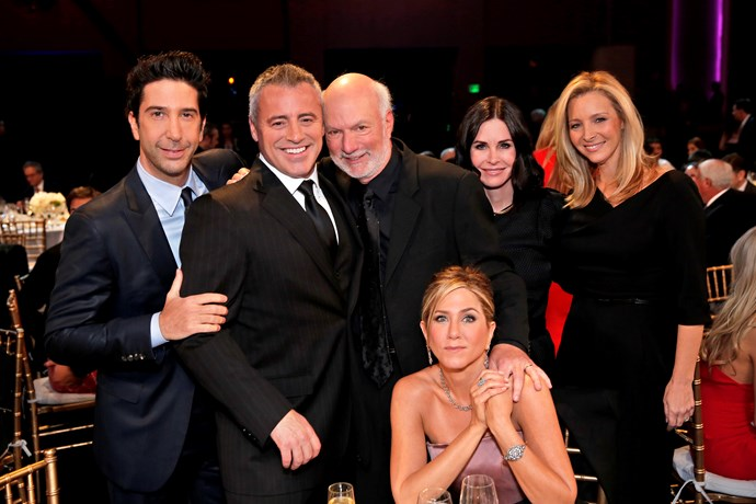 **Friends**  Where's Chandler? David Schwimmer (Ross), Matt Le Blanc (Joey), Jennifer Aniston (Rachel), Courteney Cox (Monica) and Lisa Kudrow (Phoebe) were part of the all-star tribute to TV director James Burrows.
