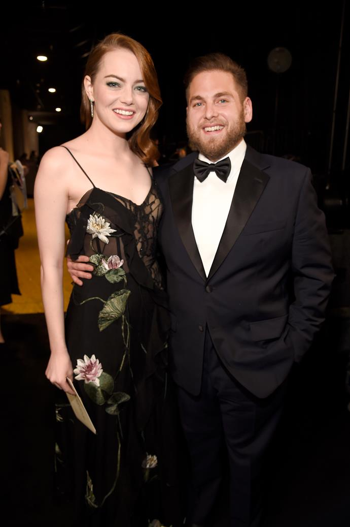 **Superbad**  Emma Stone was presented with her 2017 SAG Award by *Superbad* co-star Jonah Hill. The onstage hugging was super sweet.