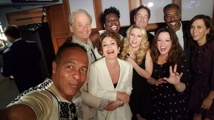 **Ghostbusters**  Paul Feig, who directed the 2016 all-female reboot of the classic movie, brought together the original cast and the new cast for this special shot.