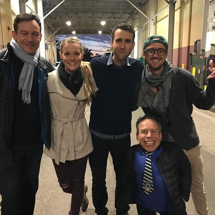 **Harry Potter**  Jason Isaacs (Lucius Malfoy), Matthew Lewis (Neville Longbottom), Tom Felton (Draco Malfoy) and Warwick Davis (many of your favourite characters, but memorably Professor Flitwick) posted with Matt's fiancée.