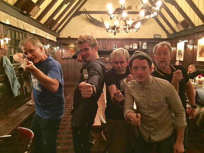 **The Lord of the Rings**  This epic *LOTR* reunion between Viggo Mortensen (Aragorn), Orlando Bloom (Legolas), Dominic Monaghan (Merry), Elijah Wood (Frodo) and Billy Boyd (Pippin) happened, and obviously the poses are amazing.