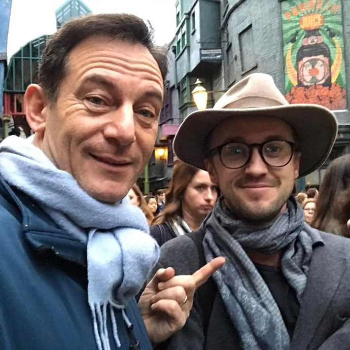 **Harry Potter**  Jason Isaacs (Lucius Malfoy) and Tom Felton (Draco Malfoy) went undercover at The Wizarding World of Harry Potter.