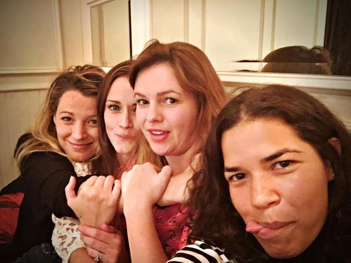 **The Sisterhood of the Traveling Pants**  We will never stop getting reunion photos of Blake Lively, Alexis Bledel, Amber Tamblyn and America Ferrera because they are BFFLs IRL.