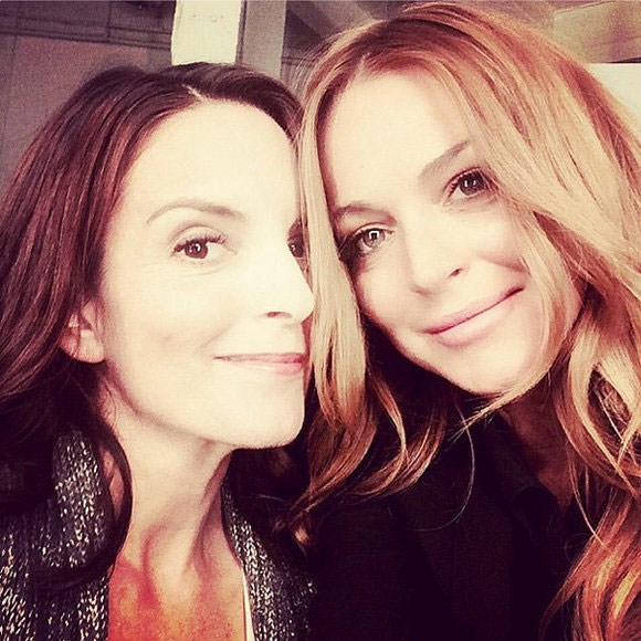 **Mean Girls**  *Mean Girls* reunion round one Lindsay Lohan (Cady Heron) snapped this selfie with Tina Fey (Ms. Norbury) on the set of their *Entertainment Weekly* reunion shoot.