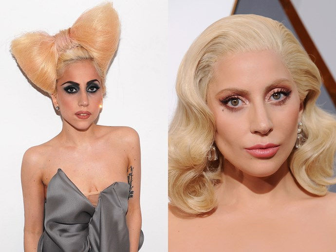 We loved everything about 2008 Gaga, but 2016 Gaga is seriously chic. She's found the perfect foundation tone for her skin and pretty peachy blush. Old Hollywood looks good on her.