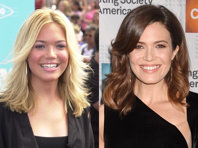 "Mandy Moore circa ""Candy"" days was ALL time — bottled blonde hair and bronzer was *everything* but there's no denying this chestnut brown is really flattering, and her hairs gloss game has improved by 100%,"