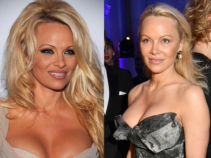 Pamela Anderson has drastically pared-back her look this January. She's swapped her 2012 beauty essentials (inked brows, all of the bronzer, smudged khol liner and loads of lip liner) for dewy, highlighted skin, a touch of mascara and bronzer on the apples of the cheeks. The make-under has taken her skin five years younger.