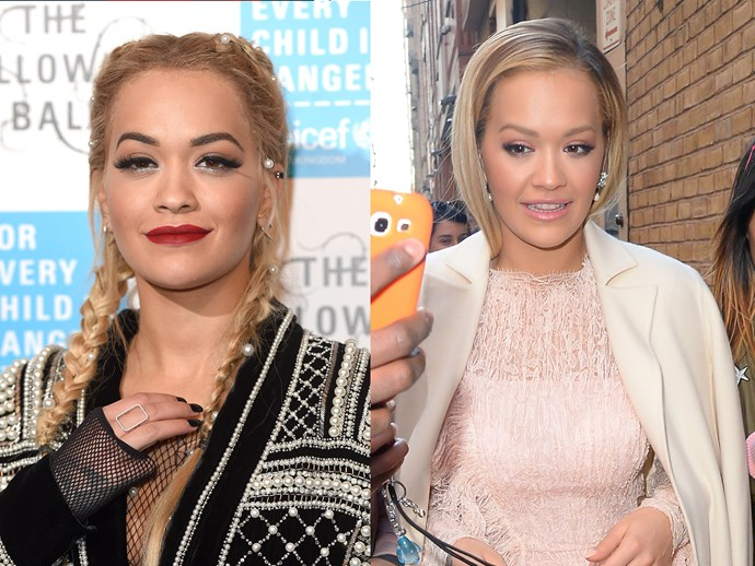 Rita Ora has gone from grunge to seriously girly in the last week, stepping out with a lob, bleached brows and nude lips.  It's a pretty big departure from her tattooed brows, scarlet pout and bleached extensions, but definitely a good one.
