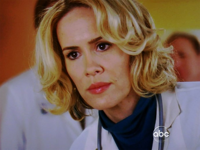 **Sarah Paulson.** She might be a big name actor now in *American Horror Story* and *The People v. O.J. Simpson: American Crime Story* but back in season six, Sarah moonlighted as Meredith's mother, Ellis Grey, in a '70s flashback.