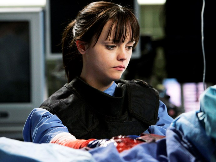**Christina Ricci.** Everyone remembers the bomb episode, but not everyone remembers that it was Christina Ricci who played the young paramedic who had her head inside that guy's chest.