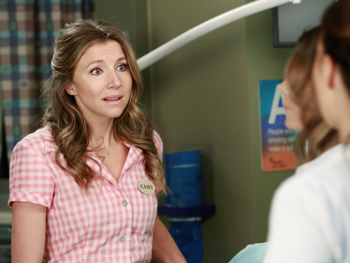 **Sarah Chalke.** Sarah swapped her *Scrubs* doctors uniform for a waitress one to play a frantic mother who goes against the doctor's initial diagnosis.
