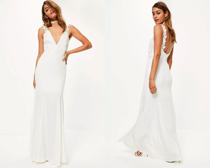"Dress, $264.96 at [Missguided](https://www.missguidedau.com/bridal-white-lace-criss-cross-bodice-maxi-dress|target=""_blank""