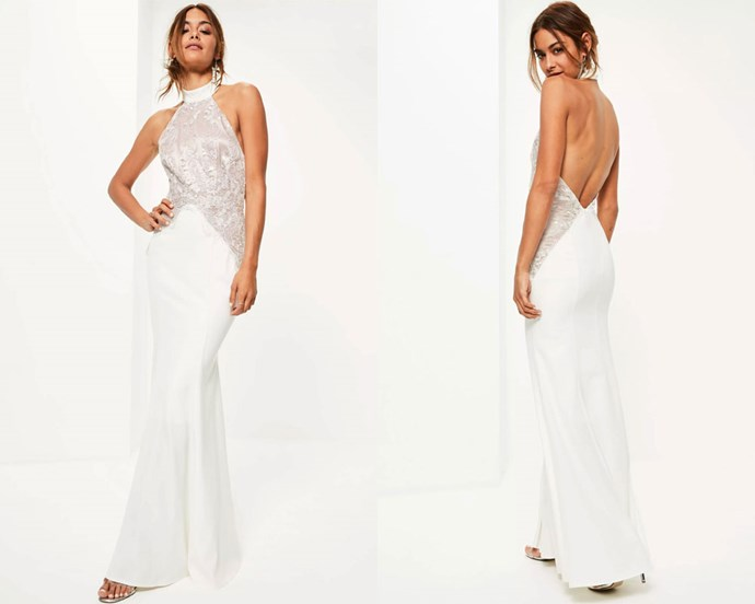 "Dress, $264.95 at [Missguided](https://www.missguidedau.com/bridal-white-high-neck-lace-detail-maxi-dress|target=""_blank""